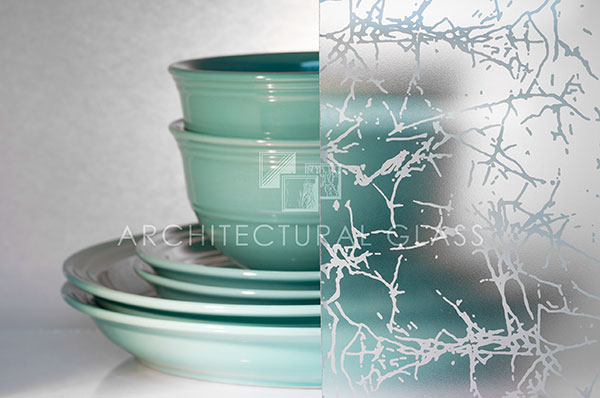Acid etched glass with white random pattern