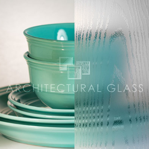 Acid etched glass with wood grain pattern