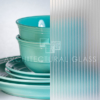 Acid etched glass with ribbed pattern