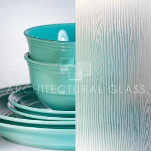 Wood acid etched heavy glass