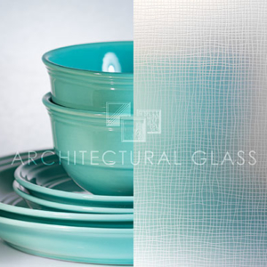 Acid etched glass with screen pattern