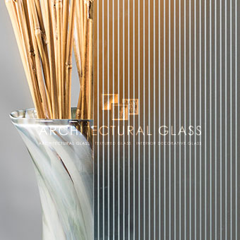 Close up of Ribbed Acid Etched Glass