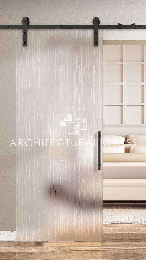 Glass Barn Door with Acqua Acid Etched Glass