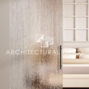 Glass Barn Door with Aqui Pattern Glass