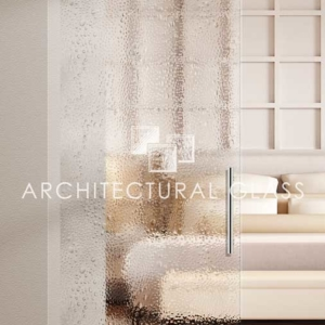Glass Barn Door with Bubbles Pattern Glass