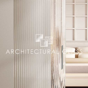 Glass Barn Door with Reeded Pattern Glass