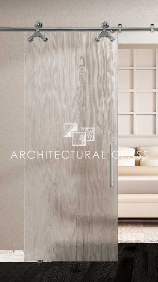 Glass Barn Door with Wood Acid Etched Glass