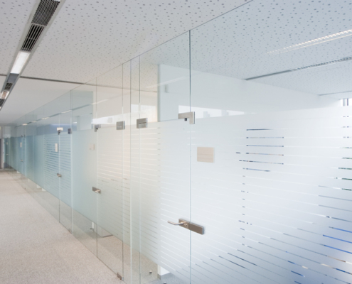 Glass doors with privacy strips