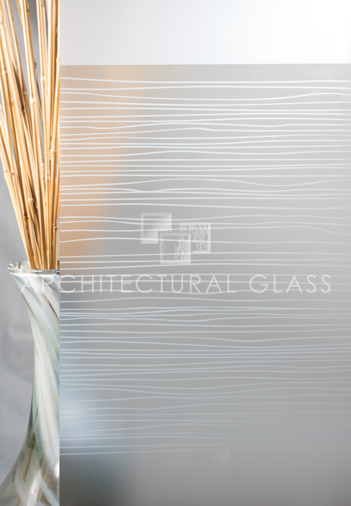 Acid etched glass with random pattern