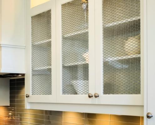 Chicken wire glass in cabinets