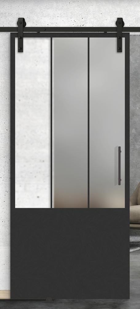 3 vertical lite over 1 panel glass barn door
