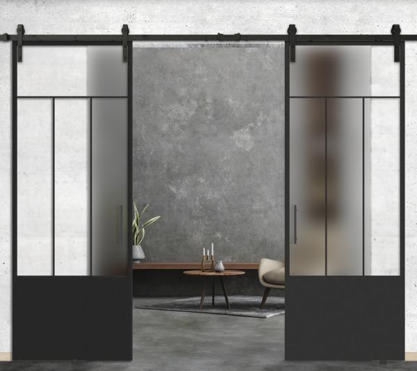 4 mixed lite over 1 panel double glass doors