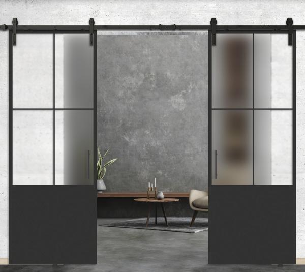 4 lite vertical over 1 panel double glass door
