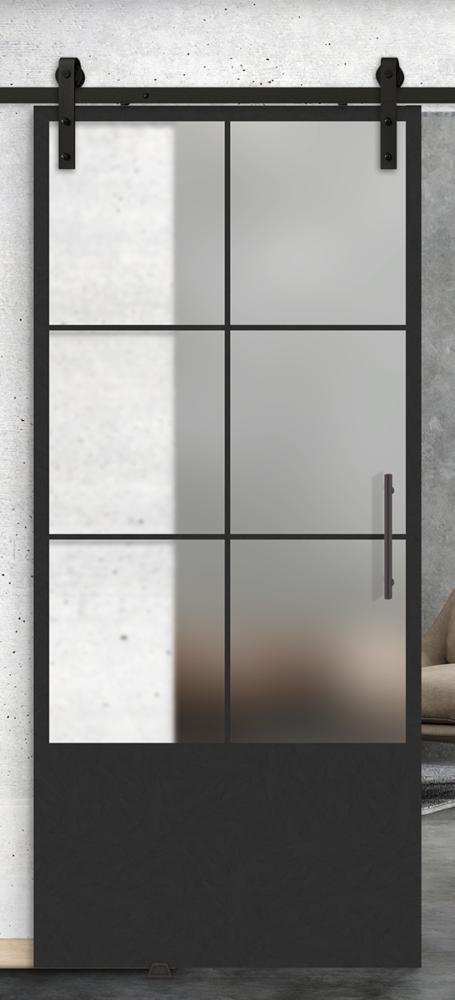 6 lite over 1 panel printed glass door