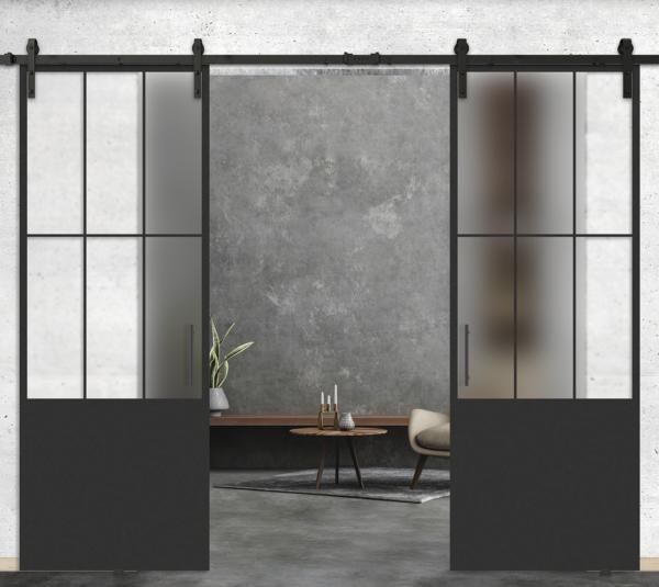 6 lite vertical over 1 panel double glass door