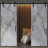 printed white marble glass barn double doors