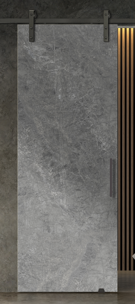 Stone cement printed glass door