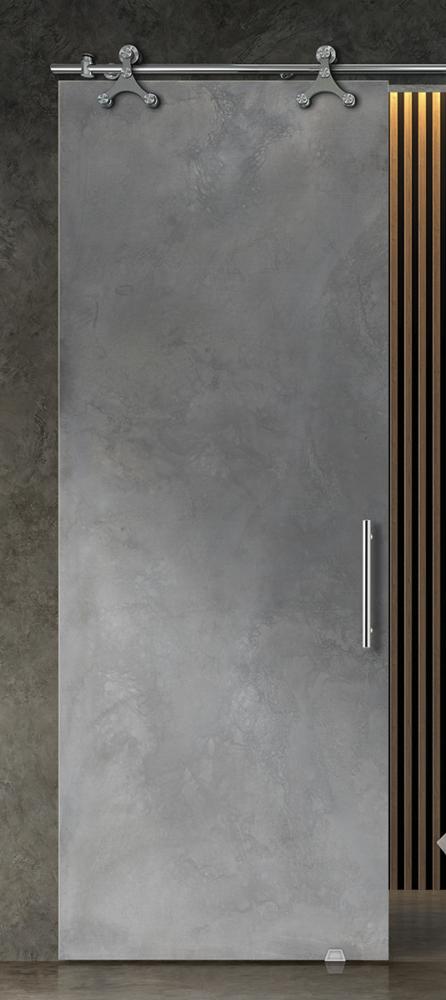 stone grey printed glass door